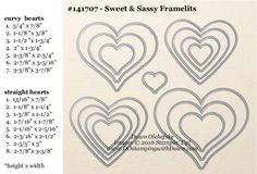 Sweet & Sassy Framelit Dies sizes shared by Dawn Olchefske #dostamping #stampinup