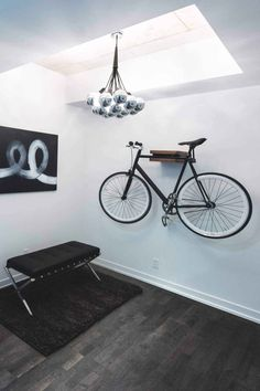 Here we showcase a a collection of perfectly minimal interior design examples for you to use as inspiration. Check out the previous post in the series: Interior Design Examples, Interior Design Inspiration, Home Interior Design, Interior Architecture, Interior Ideas, Design Ideas, Indoor Bike Rack, Bike Hanger, Bike Storage