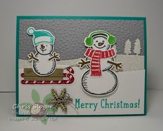 Snow Place Sledding Snowmen, Stampin' Up! Snow Place and Snow Friends framelits