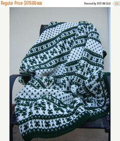 FALL SALE Fair Isle Crochet Afghan by CabinByThePines on Etsy