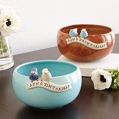 These are super cute!  Look what I found at UncommonGoods: Custom Wedding Bowl for $85.00