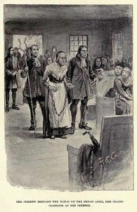 """""""The Sheriff brought the witch up the broad aisle, her chains clanking as she stepped."""" illustration of Rebecca Nurse by Freeland A. Carter published in """"The Witch of Salem, or Credulity Run Mad"""" by John R. Women In History, Family History, Salem Witch Trials Victims, Rebecca Nurse, Paris France, Salem Mass, Witch History, Maleficarum, Louvre"""