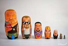Beautifully Handpainted Nesting Dolls Of 'The Big Lebowski' Characters - DesignTAXI.com