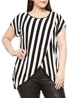 Plus Size Striped Asymmetrical Hem Top With Dolman Sleeves