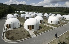 70 dome houses were built for villagers who lost their houses to an earthquake in Indonesia's ancient city of Yogyakarta. The monolithic dom. Monolithic Dome Homes, Tiny House France, Upside Down House, Crazy Houses, Weird Houses, Colani, Unusual Buildings, Dome House, Sustainable Living