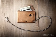 Leather Chain Wallet with snap, leather card wallet, men's wallet, thin chain wallet, simple snap wallet  020_CH by MrLentz on Etsy https://www.etsy.com/listing/197240409/leather-chain-wallet-with-snap-leather
