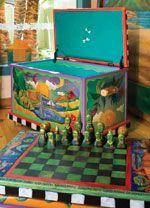 chest, game board, sticks