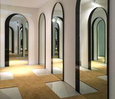 hall of Arch Mirrors Arch Mirror, Hall Of Mirrors, Modern Hall, Interior Windows, Illusion Art, Doorway, Retail Design, Event Design, Illusions