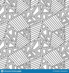 Seamless Vector Pattern, Black And White Lined Asymmetric Geometric Background With Rhombus, Triangles. Print For Decor, Wallpaper Stock Vector - Illustration of polygon, mosaic: 135222804 Coloring Sheets, Adult Coloring, Coloring Pages, Coloring Stuff, Triangles, Triangle Print, Black And White Lines, Geometric Background, En Stock