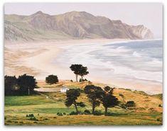 Ocean Beach by Dick Frizzell for Sale - New Zealand Art Prints New Zealand Beach, New Zealand Art, New Zealand Landscape, Nz Art, Kiwiana, Traditional Landscape, Beach Print, Ocean Beach, Artist Art