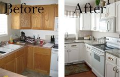 Painted Kitchen Cabinet Before And After | Painting Kitchen Cabinets White  Before U0026 After Pictures