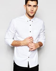 ASOS Twill Shirt in White with Long Sleeves