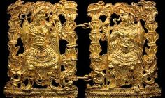 Treasures from Tillya Tepe, Afghanistan ... a pair of gold clasps depicting warriors.ca. 2000 B.C.