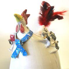 Handgefertigtes Unikat aus Keramik, Crazy Chick, Dekoration, Garten Christmas Ornaments, Holiday Decor, Home Decor, Lawn And Garden, Dekoration, Decoration Home, Room Decor, Christmas Jewelry, Christmas Decorations