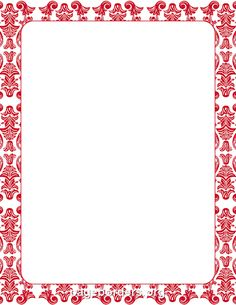Printable Red Damask Border. Use The Border In Microsoft Word Or Other  Programs For Creating  Free Border For Word