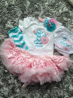 Cute as a button birthday outfit : aqua and pink chevron 1st birthday outfit - personalized button birthday shirt on Etsy,