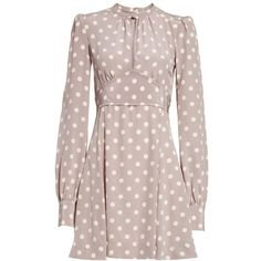 Women's Marc Jacobs Polka Dot Silk Crepe De Chine Dress ($650) ❤ liked on Polyvore featuring dresses, marc jacobs dress, brown silk dress, bishop sleeve dress, silk polka dot dress and crepe de chine dress