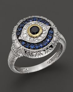 Judith Ripka Sterling Silver Evil Eye Ring.