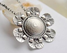 Silver Nature Inspired Necklace, Textured Botanical Metalwork Necklace,Unique Silver Necklace, Silversmith Jewelry, Handmade Artisan Jewelry