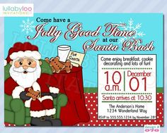 Santa Christmas Party Invitations (070)  | lullabyloo - Cards on ArtFire