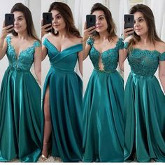 Vestido chique, roupas de festa, vestido de festa, vestido verde curto, f. Green Bridesmaid Dresses, Homecoming Dresses, Wedding Dresses, Elegant Dresses, Pretty Dresses, Formal Dresses, Gala Dresses, Evening Dresses, A Line Evening Dress