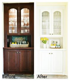 Amazing before and after of a built in china cabinet! See the full makeover at atthepicketfence.com