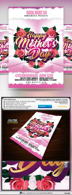 Mothers Day Flyer Bundle  Flyer Template Template And Party Flyer