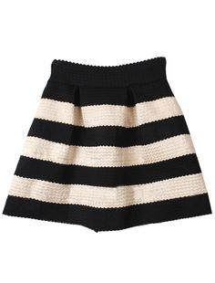 Black Apricot Striped High Waist Elastic Flare Skirt 9.99