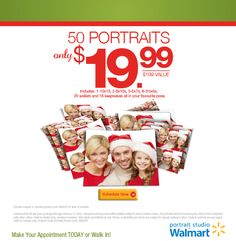 Portrait Studios in Walmart wants to spread holiday cheer by creating beautiful portraits! This amazing offer is our gift to you. Schedule your session today! View the details --> http://bit.ly/1uyjF5z