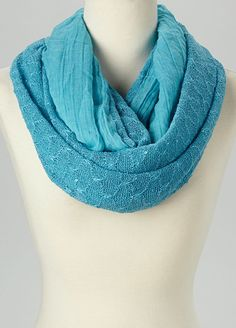 Blue Textured Infinity Scarf