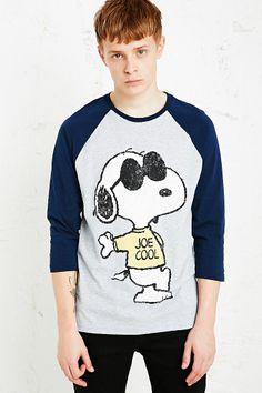Snoopy Joe Cool Raglan Tee in Grey and Blue
