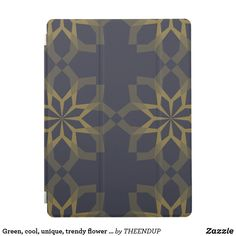 Green, cool, unique, trendy flower abstraction iPad pro cover