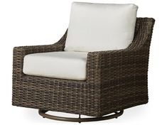 Unique look of wicker furniture will add style and beauty to your outdoor setting Offered in wide variety of fabric options for cushions Super comfortable high quality cushions designed for extreme comfort Features swivel motion for quick view movement Patio Lounge Chairs, Patio Seating, Outdoor Chairs, Wicker Furniture, Outdoor Furniture, Furniture Ideas, Brown Armchair, Swivel Glider Chair, Gliders