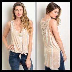 Mocha Tank This sleeveless tie st top features a high low silhouette, crochet detail on straps, and a tie-able detail on the hem. NO TRADES✔️Reasonable offers accepted✔️ Tops Tank Tops