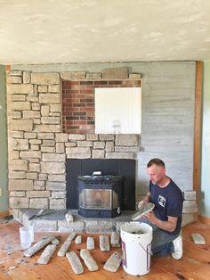 Our Brick Fireplace Makeover. Tall KaminBackstein Kamin VerjüngungskurSteinfurnier  ...