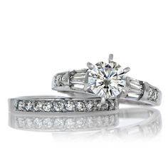 #Women's #Traditional #Round-Cut #925 #Sterling #Silver #CZ #Wedding #RingSet #Size 5-12  #Bridal #Jewelry