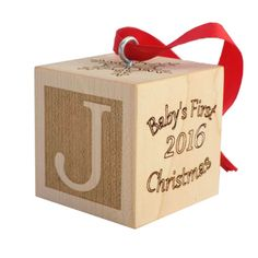 Baby's First Christmas Ornament, Wooden Baby Block, Baby Ornament, Baby's First Christmas Gift, Baby Christmas Keepsake by PalmettoWoodShopLLC on Etsy https://www.etsy.com/listing/252324697/babys-first-christmas-ornament-wooden