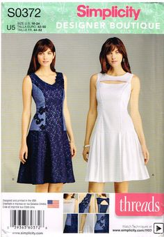 Simplicity 0372, Misses' Dresses by Threads, Size 16, 18, 20, 22, 24, Plus Size