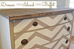 dresser turned kitchen island. I think I would take out the bottom drawers and replace with shelves so it doesn't still look like a dresser.  Like the concept!
