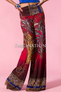 951ef0d729184 Plus Hot New Popular Trend Red Paisley Print Palazzo Pants 1 x 2 x 3 X
