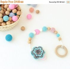 SALE Wooden teething ring with crochet flower, teething toy, chewing toy, first toy