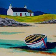 Croft cottage & boat<br x Abstract Landscape Painting, Seascape Paintings, Landscape Art, Landscape Paintings, Watercolor Paintings, Original Paintings, Landscapes, Easy Watercolor, Watercolour