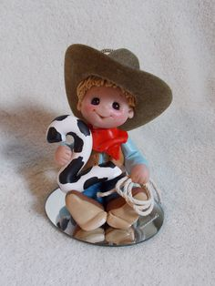 *POLYMER CLAY ~ cowboy birthday 2 second cake topper decoration Christmas ornament personalized polymer clay. Fondant Cake Toppers, Fondant Figures, Birthday Cake Toppers, Cowboy Birthday Party, Cowboy Party, Personalized Christmas Ornaments, Christmas Crafts, Christmas Decorations, Diy Clay