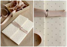 polka dots, ribbon and safety pin fastener.