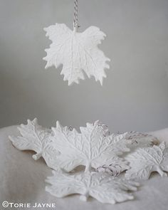 Acrylic inexpensive leaves painted in white can make a beautiful ornament. Clay Christmas Decorations, Diy And Crafts, Christmas Crafts, Christmas Ornaments, Noel Christmas, Christmas And New Year, White Christmas, Christmas Leaves, Winter Leaves