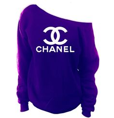 Faux Chanel Off-The-Shoulder Wide Neck Slouchy Sweatshirt - SenseOfCustom