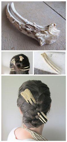 antler and bone hair pins Antler Jewelry, Bone Jewelry, Hair Jewelry, Jewellery, Antler Crafts, Antler Art, Larp, Body Jewelry Shop, Bone Crafts