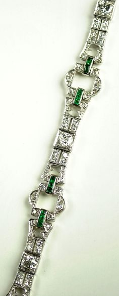 Art Deco diamond, emerald, platinum bracelet. Green Hill Jewelers, Etsy