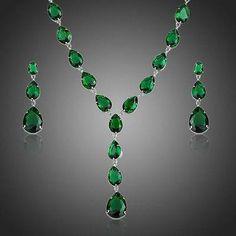 Green Cubic Zirconia Tear Drop Pendant Necklace and Earrings Set  #jewelry #women #earrings #rings #necklace #khaista #fashion #womensfashion #dresses