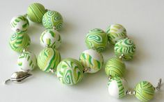Polymer Clay Beads, Sterling Silver Beads and Clasp